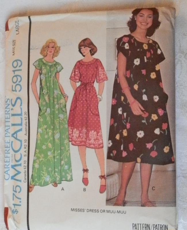 80669b71eb147 McCalls 5919 Misses Large Vintage Muu Muu Sewing Pattern on PopScreen